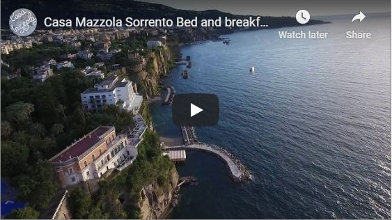 Sorrento from above, drone image of Sorrento peninsula and Naples city